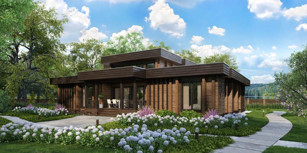 Проект дома из клееного бруса в стиле хайтек Bosko - 3