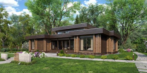 Проект дома из клееного бруса в стиле хайтек Bosko - 1